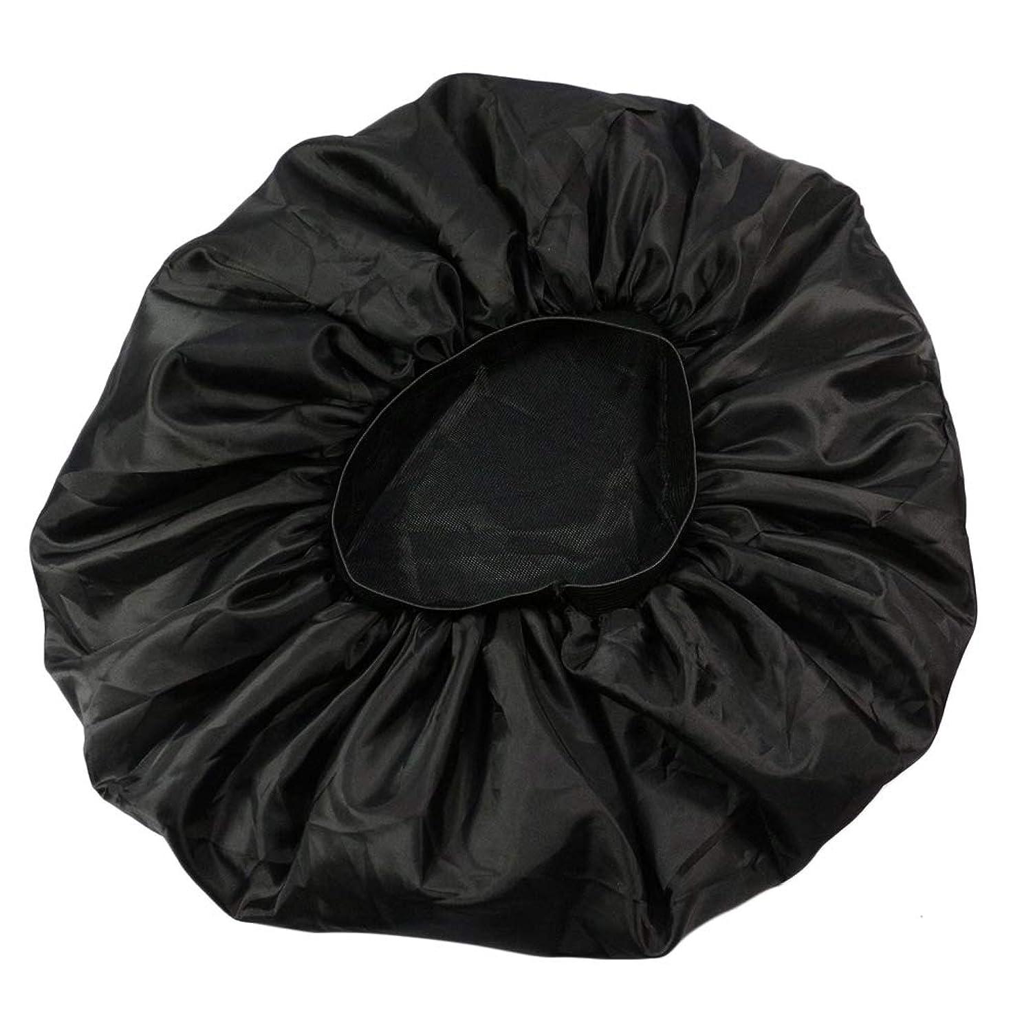 抑止する社会主義近傍Lurrose 特大伸縮性のあるスリーピングキャップ防毛ナイトキャップサテンスリーピングキャップ(ブラック)