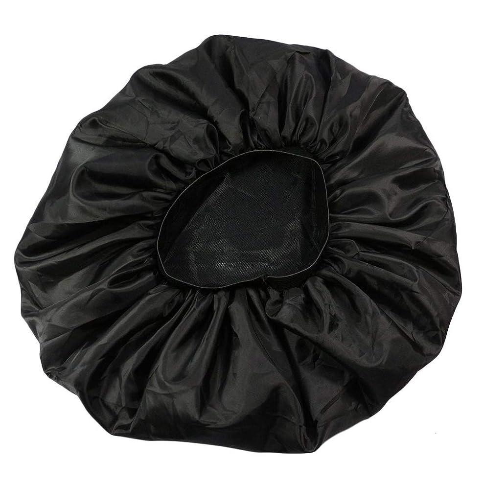 クリームどこにでもおとこLurrose 特大伸縮性のあるスリーピングキャップ防毛ナイトキャップサテンスリーピングキャップ(ブラック)