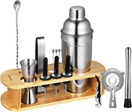 Homemaxs 17PCS/set Bartender Kit Cocktail Shaker Bar Set with Stand - Professional Stainless Steel Bar Tool Set for Drink Mixing - Best Home Cocktail Making Tools Shaker Set