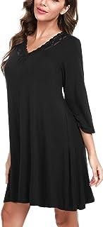 Hawiton camisón para Mujer de Algodon, Sexy Camisones de Encaje de Mangas 3/4, Pijamas con Cuello en v Casual T-Shirt Vest...