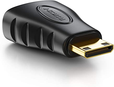 deleyCON Adaptador para Mini HDMI - Conector HDMI para Enchufe Mini HDMI Adaptador de Video 1920x1200 Full HD 1080p - Negro