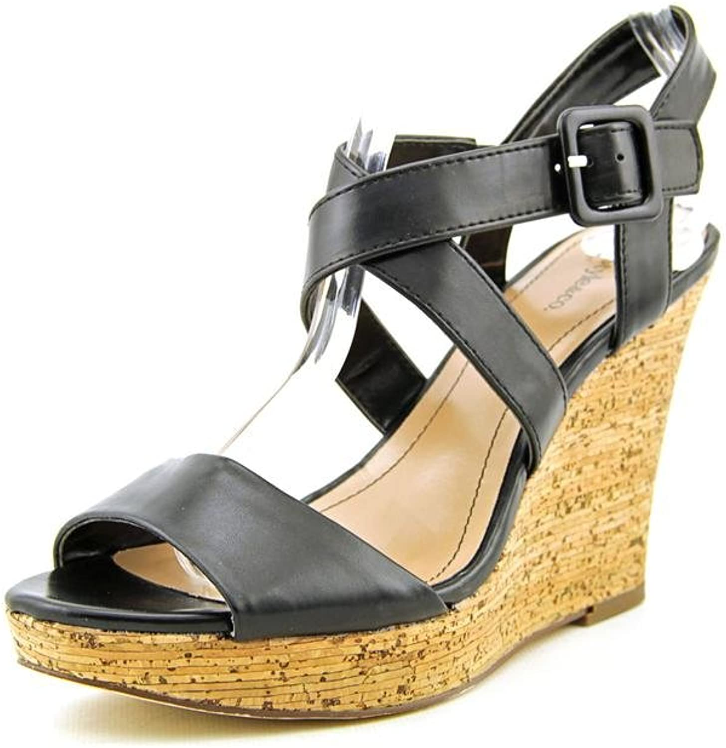 Style & Co.. Womens ALLEXUS Leather Open Toe Casual Platform, Black, Size 8.5