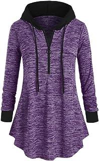 Pullover Women Hoodie Long-Sleeve Elegant Patchwork with Drawstring Half Zip Loose Casual Asymmetrical Sweatshirt Autumn L...