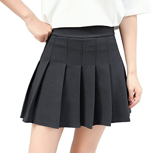 31a09b90ce Hoerev Women Girls Short High Waist Pleated Skater Tennis School Skirt
