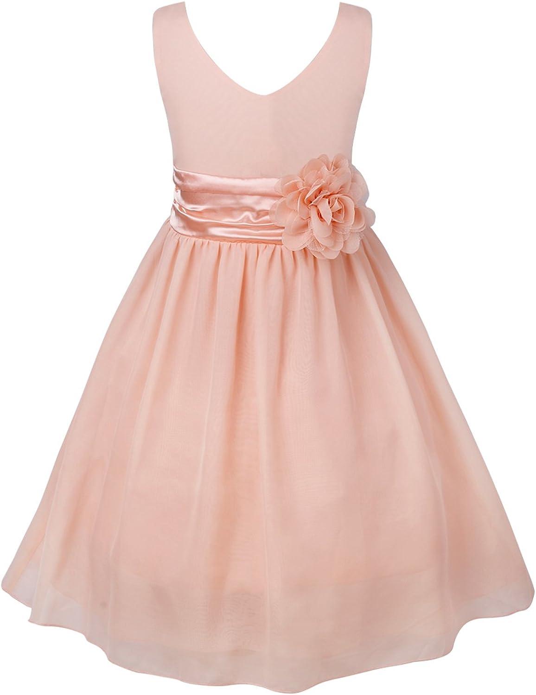 JEEYJOO Little Big Girls Chiffon Prom Party Gown Flower Dresses V Neck Knee Length Bridesmaid Wedding Dress