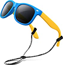 RIVBOS Rubber Kids Polarized Sunglasses with Strap Shades for Boys Girls Baby and Children RBK004
