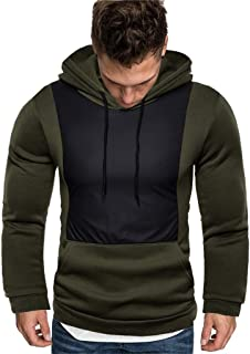 Hoodies for Men Slim Fit Patchwork Long Sleeve Fall Lightweight Sweatshirt Pullover Tops Outwear with Kanga Pocket 3XL
