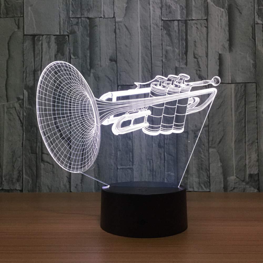 BFMBCHDJ Instrumento Trompeta 3d LED Luz de noche 7 Cambio de ...