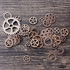 Teenitor 200 Gram Assorted Antique Steampunk Gears Charms Cogs Cyberpunk Vintage Pendant Clock Watch Wheel Gear for DIY Crafting Jewellery Making Finding Parts Accessory Bronze & Copper(Approx 140pcs) #3