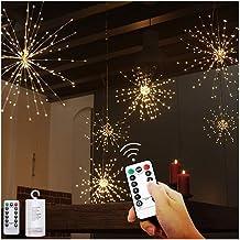 Vuurwerk LED-licht, 1 stuk 200 LED koperdraad hangende kerstverlichting 8 standen Waterdichte Starburst-verlichting met af...