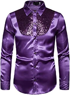 Mogogo Mens Turn Down Collar Sparkly Long Sleeve Evening Club Costume Shirts