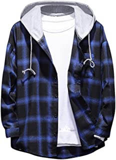 OFEFAN Men's Plaid Hooded Shirts Casual Long Sleeve Lightweight Shirt Jackets