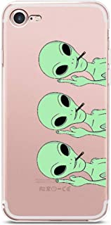 iPhone 7 Case, JICUIKE Funny Green Alien Pattern Print Soft TPU Silicone Protective Skin Ultra Slim Clear Cute Design Gift Bumper Back Cover for iPhone 8 Shell 4.7 Inch [Middle Finger Aliens]