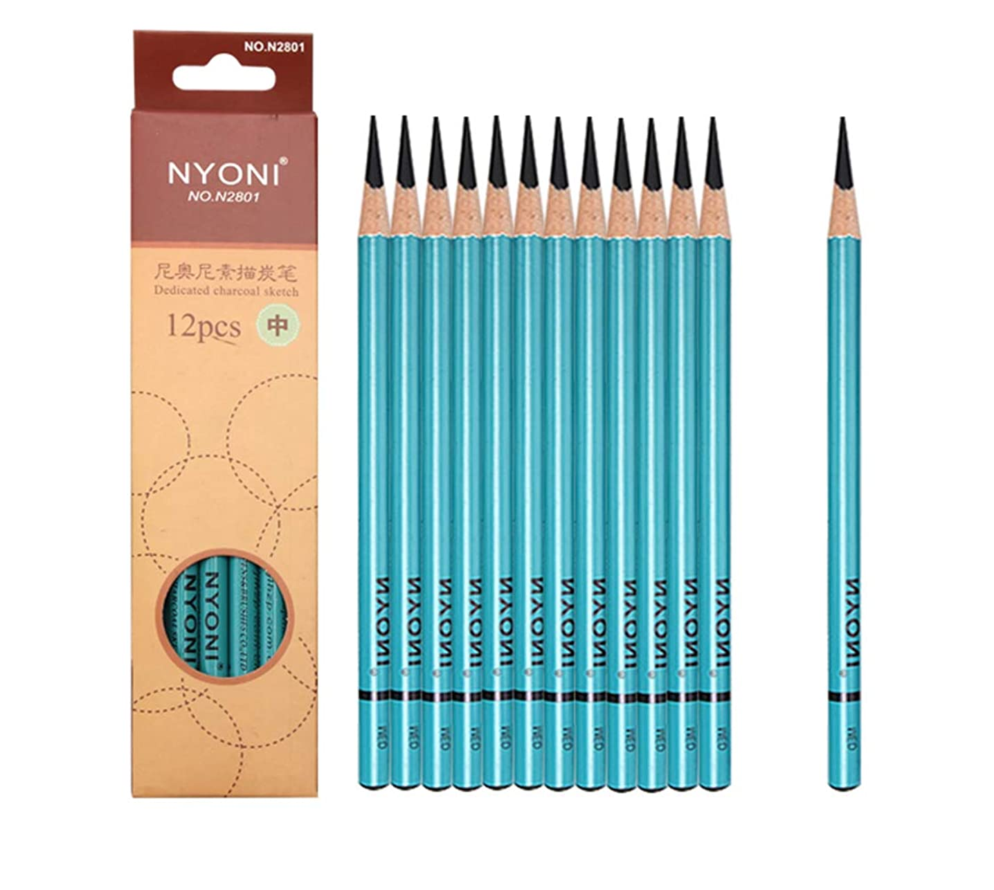 Professional Sketching Pencils Set,Sketch & Drawing Pencils Art Tool Set 12B 10B 8B 7B 6B 5B 4B 3B 2B B HB 2H 4H 6H Art Supplies (12pcs-Medium-Black)
