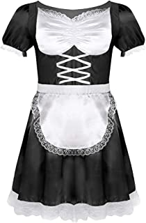 Adult Men's Frilly Satin French Maid Uniform Crossdressing Lingerie Outfit Set