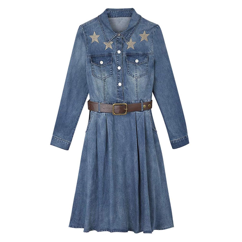 [美しいです] デニムドレス女性、長袖の秋のドレスの女性、春と秋のシックな秋のロングスカート