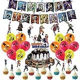 CYSJ Set de decoración de Fiesta,Juego De Fiesta TemáTica De Naruto Anime JaponéS Feliz CumpleañOs Banner Globo Tarjeta De Pastel Fiesta Combinada