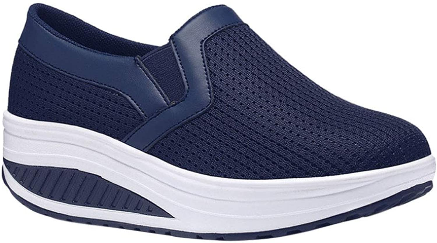 Uirend Women Athletic Walking shoes - Trainers Slip On Breathable Platform Loafers Casual Shake Wedge Hiking Sneakers Mesh Fashion