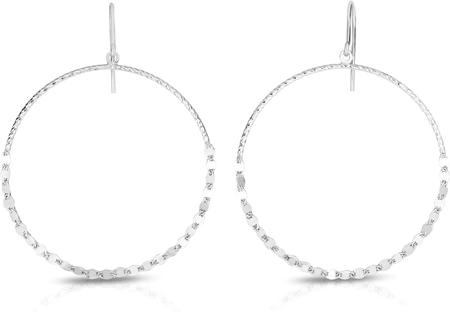 Silver Deluxe with Rhodium Finish Diamond Hook Clasp Max 60% OFF Cut Earring