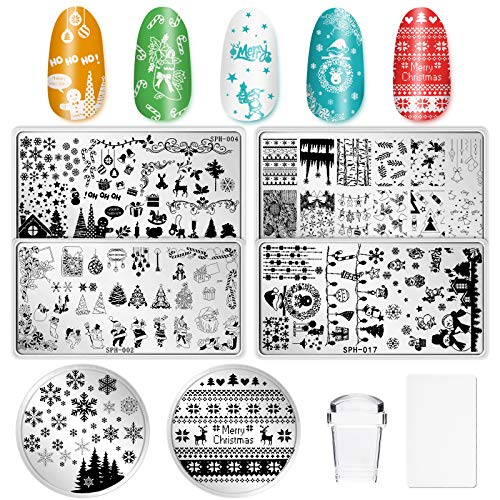 Whaline 8 Pieces Christmas Nail Art Plates Santa Reindeer Snowflake Image Stamp Templates Stamping Kit - 6 Manicure Stencils Tool Set with 1 Polish Stamper and 1 Scraper by Salon Designs