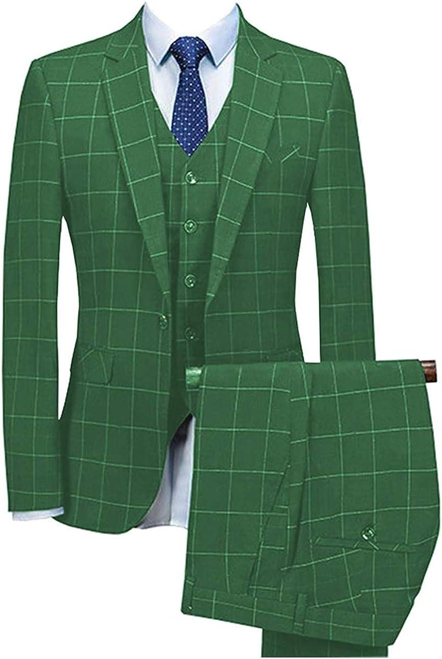 Men's 3 Piece Slim Fit Notch Lapel Plaid Men Suit Bridegroom Tuxedos for Wedding(Blazer+Vest+Pant)