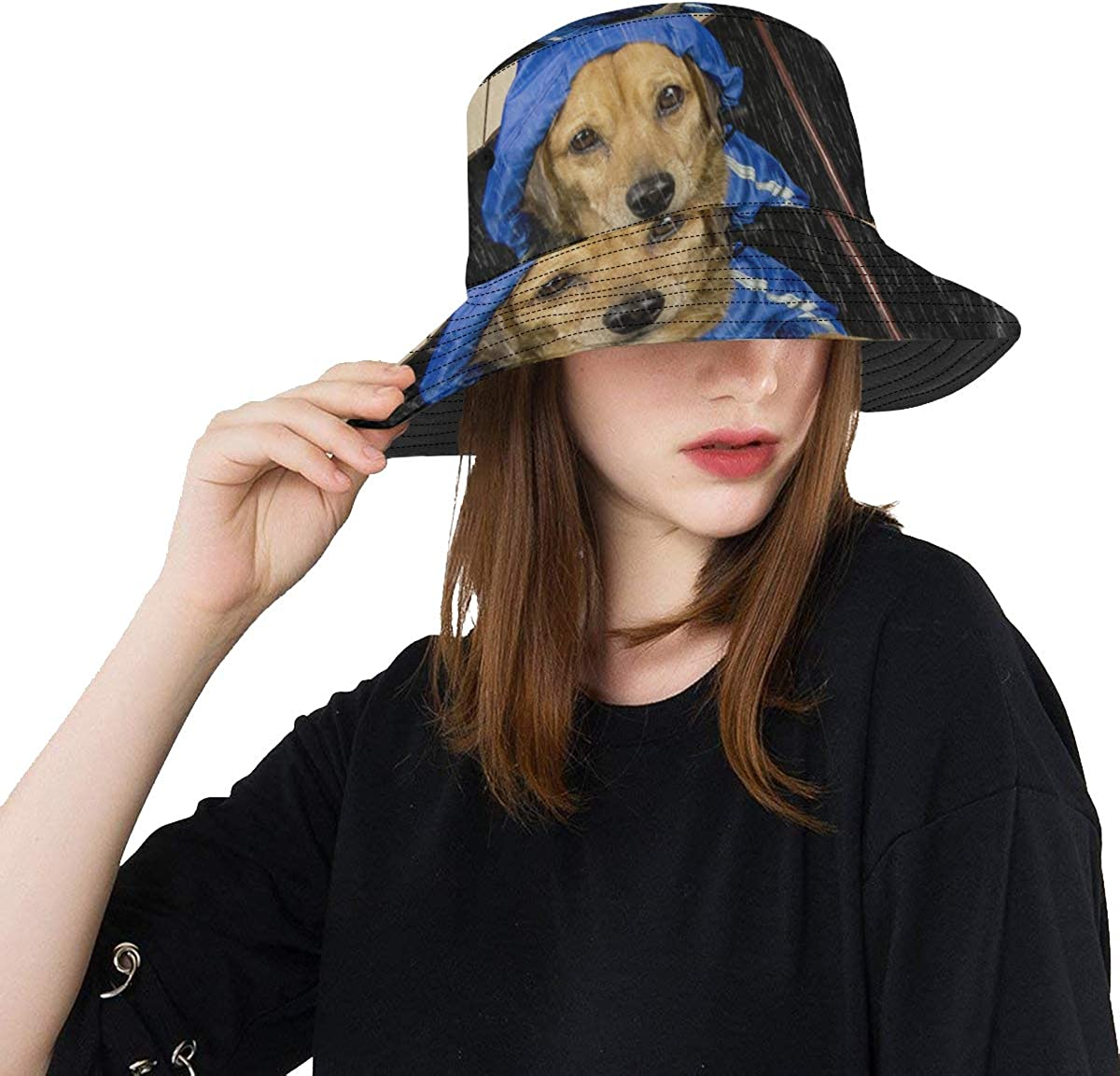 Unique Bucket Hat Blue Rain Dog Umbrella Casual Packable Cap Printed Fisherman Bucket Sun Hat for Men Women