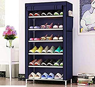 HNESS Multipurpose Portable Folding Shoes Rack 6 Tiers Multi-Purpose Shoe Storage Organizer Cabinet Tower and Nonwoven Fab...