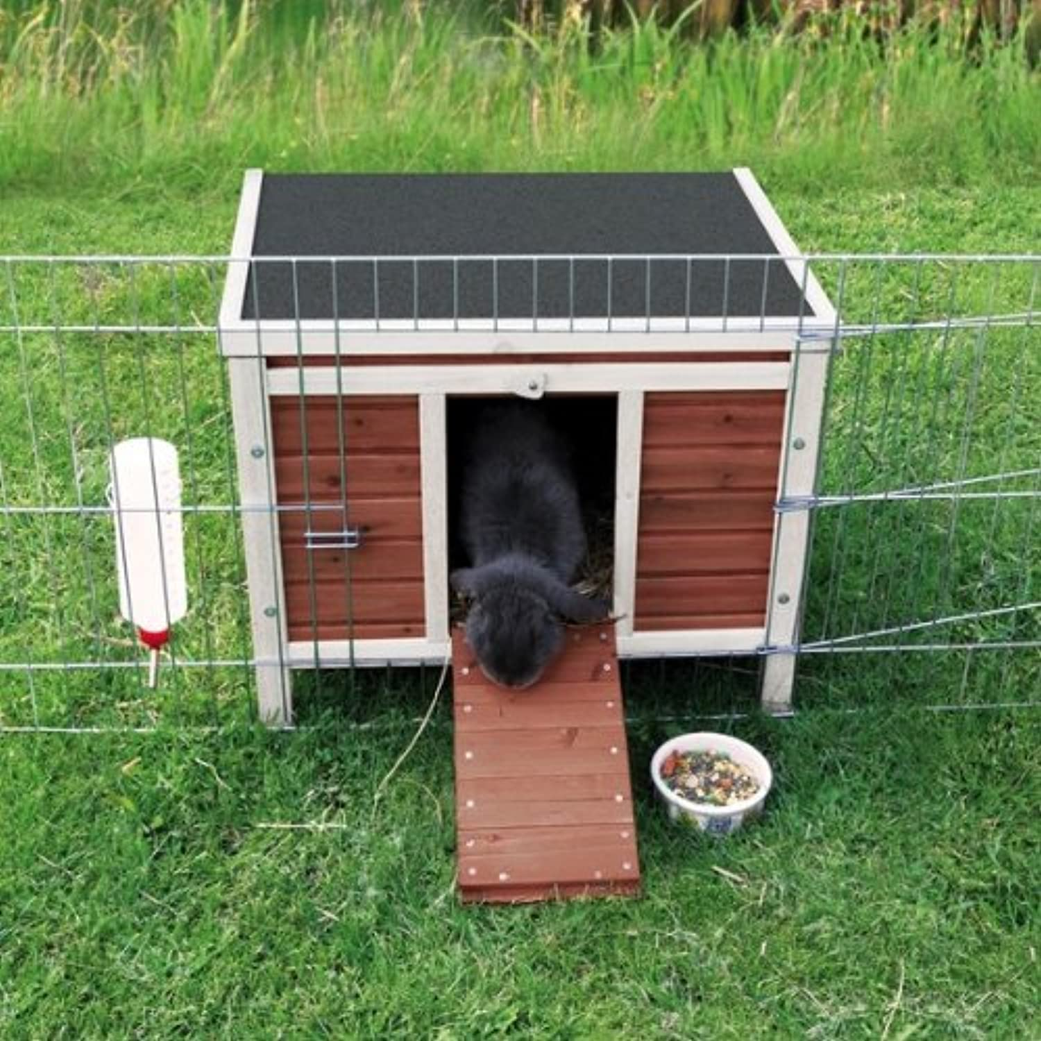 Natura Small Animal Home by Trixie  Available in 2 sizes so ideal for guineapigs or rabbits  This Small Outdoor House is Perfect to fit on runs or place inside to provide your pet with adequate shelter on hot sunny days, or if it starts to rain. (42x43x51