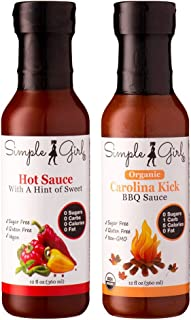 Simple Girl Carolina Kick Sugar Free BBQ Sauce and Hot Sauce (2 Pack)(low Carb, Gluten Free, Diet Friendly)