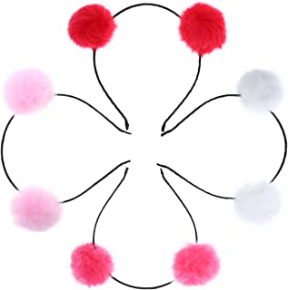 4pcs Fuzzy Pom Pom Ball Cat Ear Headband Lovely Headwear for Kids Girls (Pink + Red + Watermelon Red + White)