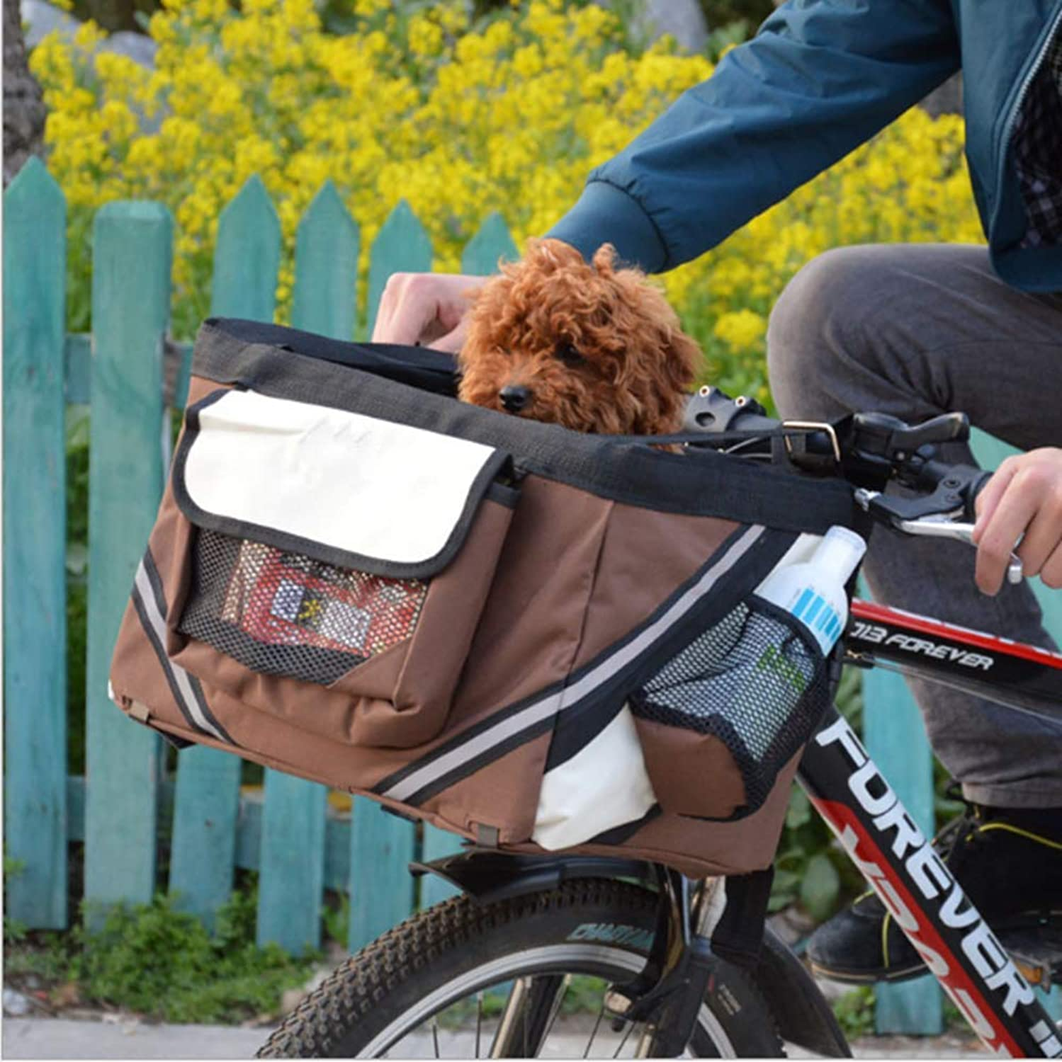 FMJI Dog Bike Baskets Pet Carrier for Bicycle,2in1 Pet Bike Basket & Over The Shoulder Carrier for Traveler