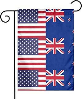 New Zealand American Half Flag Garden Flag Party Decor Flags For Celebration,Festival,Home,Outdoor,Garden Decorations 12 X 18 Inch