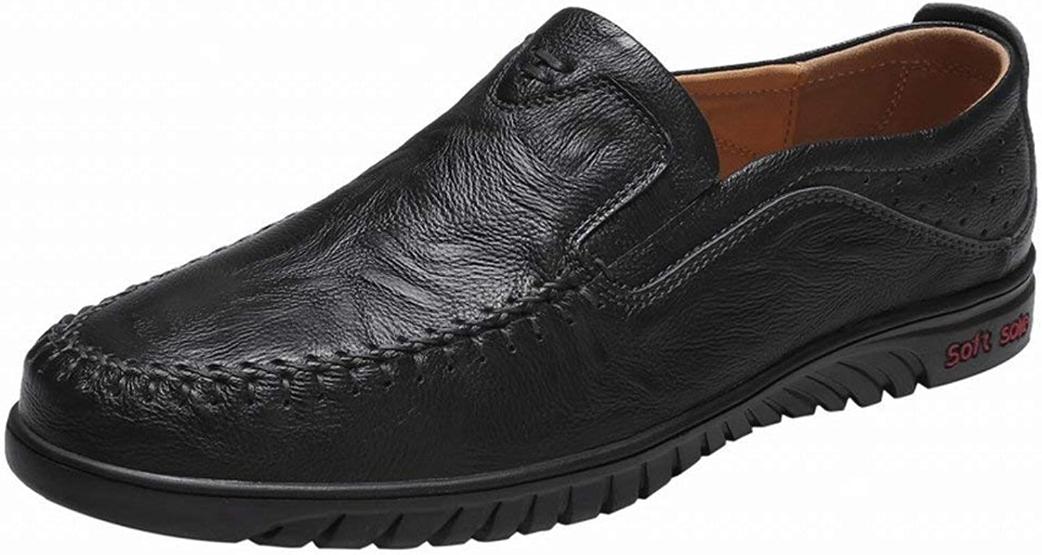 FuweiEncore Big peas shoes. Male leather lazy shoes. British green casual shoes driving shoes (color   Black, Size   39)