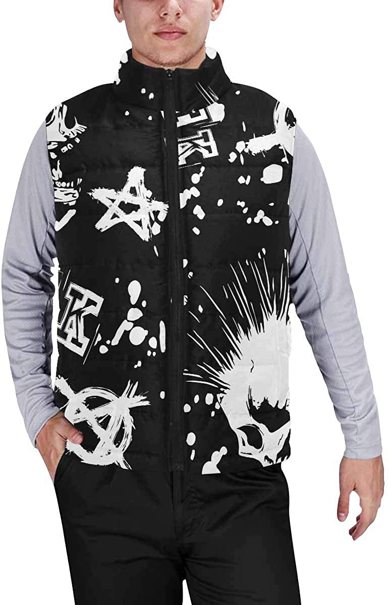 InterestPrint Men's Winter Warm Outdoor Padded Puffer Vest White Lotus Lily, Large Green Leaves