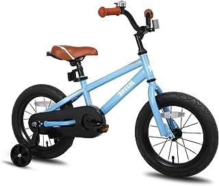 JOYSTAR 16 Inch Ride-On Kids Bike with Coaster Braking, Training Wheels & Kickstand, Blue