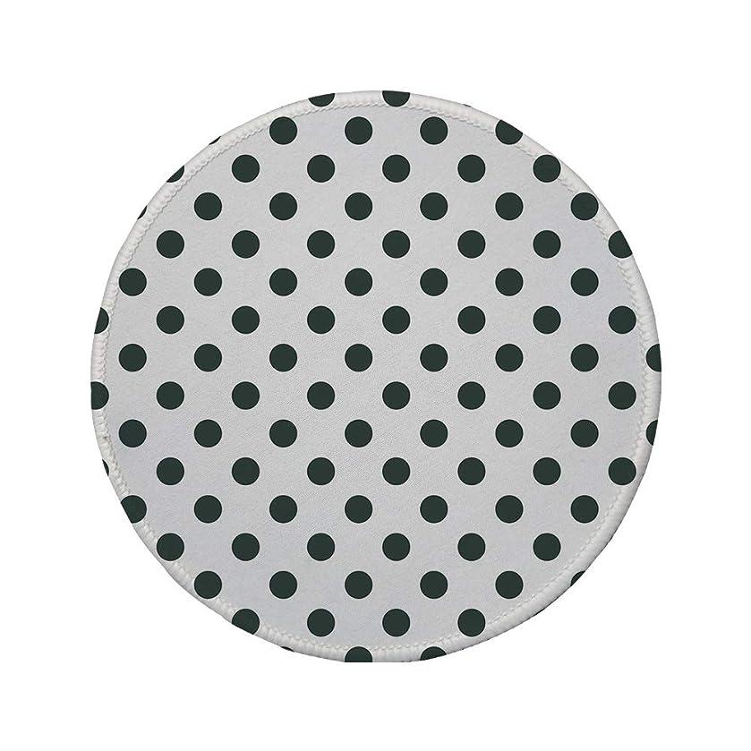 Non-Slip Rubber Round Mouse Pad,Retro,Nostalgic Polka Dots Pattern with Large Round Circles Minimalist Modern Art Print Decorative,Charcoal Grey,7.87