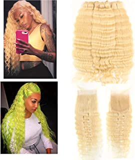 Queen Plus Hair Curly Deep Wave 613 Blonde Virgin Hair 3 Bundles With Lace Closure Brazilian Curly Deep Honey Blonde Human Hair Bundles (12 12 12+10, deep 613 hair)