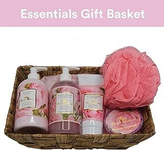 Camille Beckman Essentials Gift Basket, Glycerine Rosewater, Glycerine Hand Therapy 6 oz, Silky Body Cream 13 oz, Hand and Shower Cleansing Gel 13 oz, Glycerine Soap 3.5 oz