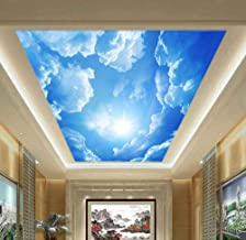 3D Wall Murals Wallpaper Landscape Blue Sky and White Clouds Ceiling Wallpaper Natural Murals Customized Bedroom Wall Papers Yynight-140cmx70cm