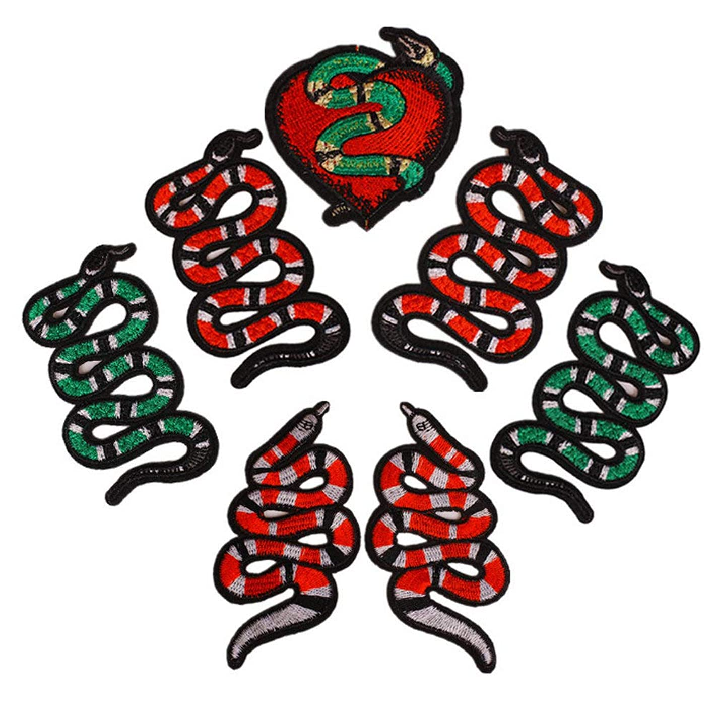 7 Pcs Snake Cloth Paste Embroidered Applique Patches Stickers Ornament Badge Iron on Patch for Clothing DIY T-Shirt Jeans Bags Accessories
