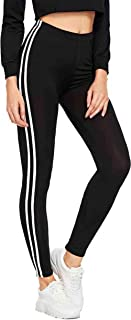 Faiza Woman Red Strip Weston wear Solid fetted Woman and Girls Black Jegging