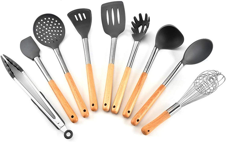 Heaviesk 9 STÜCKE Silikon Kochwerkzeug Mit Holzgriff Home Küchenutensilien Set Universal Nonstick Küchenzubehör B07PGNT7P2