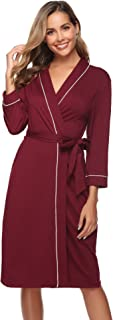 Image of Lightweight Wine Red Cotton Robe for Women - See More Colors