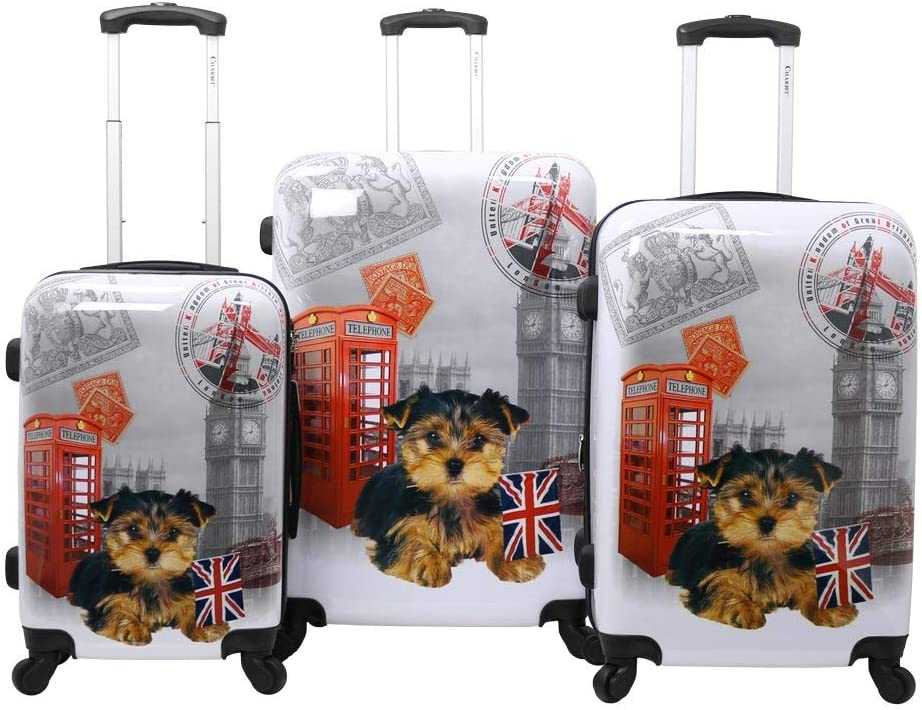 One Size Chariot Doggie 3-piece Expandable Hardside Lightweight Spinner Luggage Set-Uk