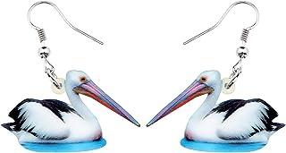 NEWEI Acrylic Unique Pelican Bird Earrings Drop Dangle Hook Wild Animal Jewelry For Women Girl Gifts Charm