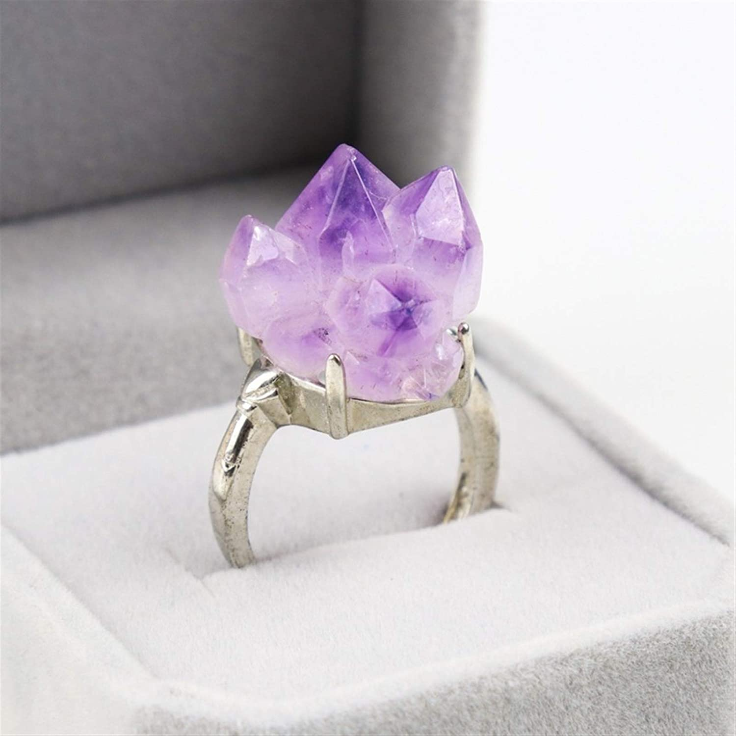 TWEITIE Natural Amethyst Crystal Ring It is very popular Decorati for Ultra-Cheap Deals Jewelry Stone