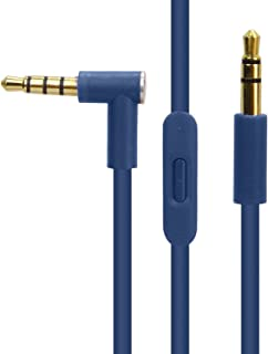 Replacement Audio Cable Cord Wire with in-line Microphone and Control for Beats by Dr Dre Headphones Solo/Studio/Pro/Detox/Wireless/Mixr/Executive/Pill(Blue)