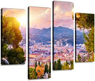 Sunset Aerial View of Nice, Cote d'Azur, French Riviera, France Canvas Wall Art Hanging Paintings Modern Artwork Abstract Picture Prints Home Decoration Gift Unique Designed Framed 4 Panel