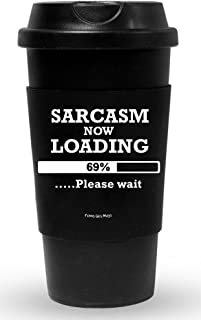 Funny Guy Mugs Sarcasm Now Loading Travel Tumbler With Removable Insulated Silicone Sleeve, Black, 16-Ounce