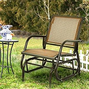 COSTWAY Patio Glider Chair Metal Frame Armchair Brown